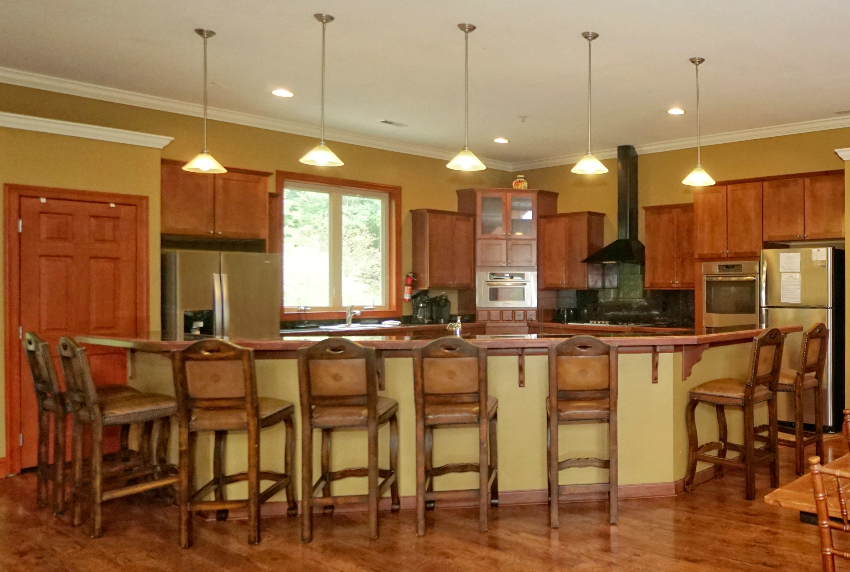 large kitchen island that seats eight