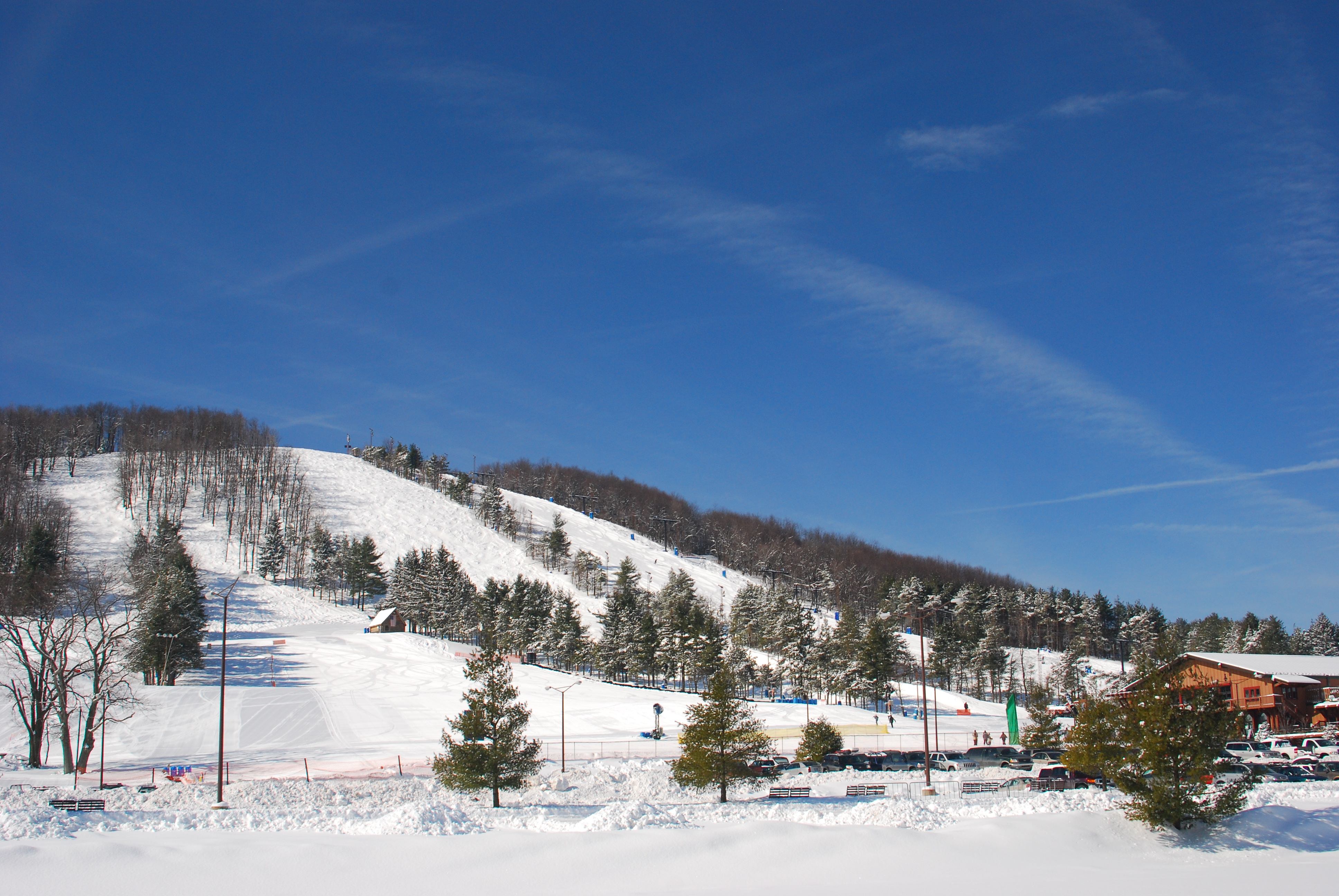 ski slopes at wisp resort during the winter months in deep creek lake