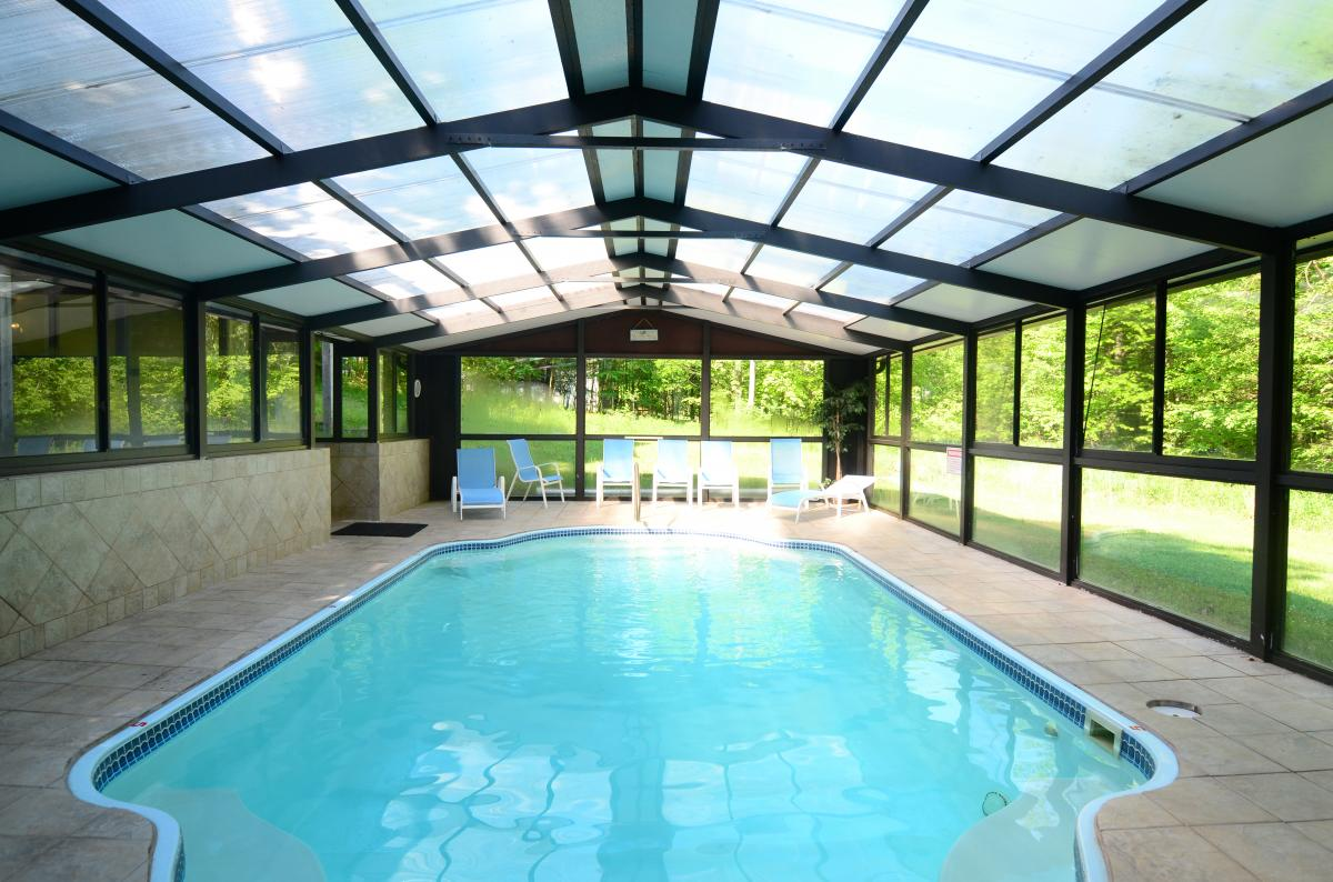 "Indoor pool with a ""green house"" feel"